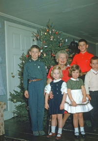 My Grandmother, Omi, with cousins the Millers; Lisa and I were best childhood pals.
