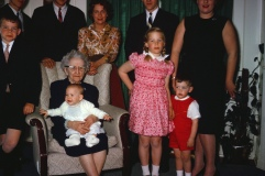 My beloved Great-grandmother, Nan holding sister Liz,; cousin Chris to my right.