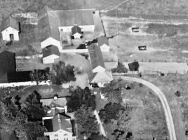 An ariel view of the farm, 1940, The granary is on the far left, top corner, before it was converted into our home.
