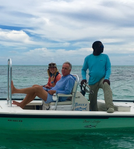 Lizzie and Michael bone- fishing in the Bahamas.