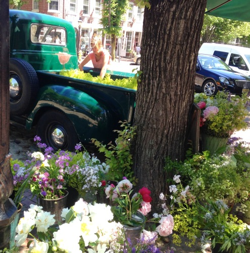 Bartlett Farm's flower truck, Main Street, Nantucket