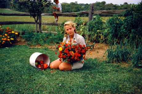 Mom and her garden bounty grown from seed, 1959