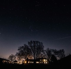 Front of the House on A winter night; shooting star-make a wish!
